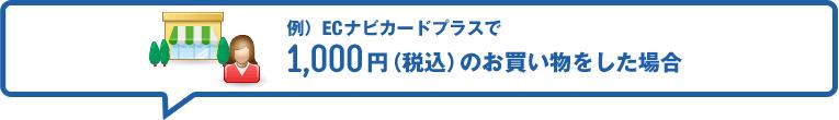 例)ECナビカードプラスで1,000円(税込)のお買い物をした場合